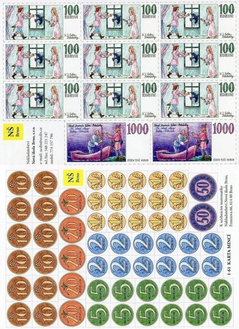 Sada mince a bankovky